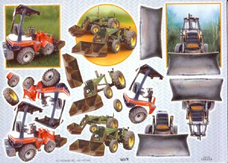 Embossed Diggers 3d Decoupage Sheet